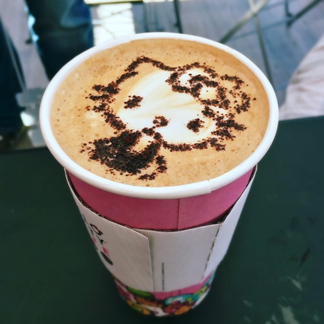 This coffee inspires a moment of paparazzi. The customer stepped aside so other customers could snap photos of the impressive Hello Kitty design. (Photo/Ava Graciela Rutter)